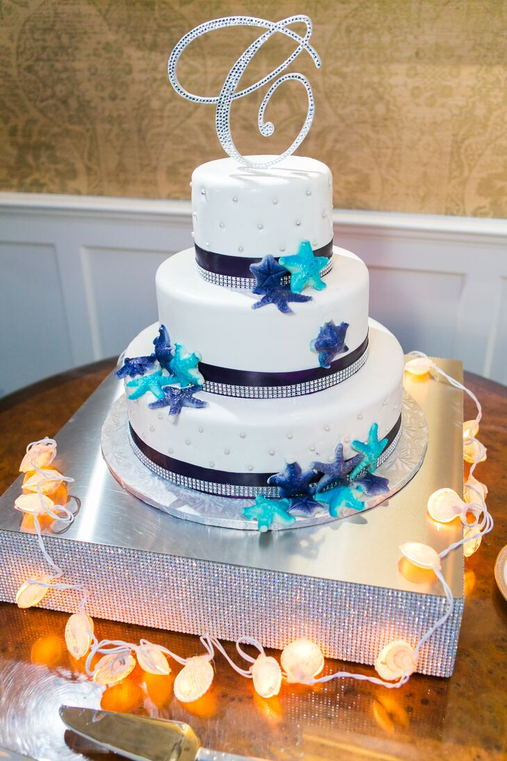 White and Blue Starfish Wedding Cake