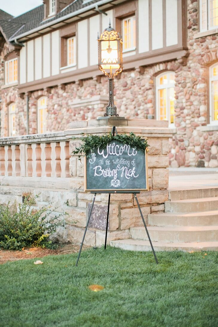 Chalkboards were used to ask guests not to snap photos during the ceremony, show where the reception was, feature the seating arrangement, show the menu and let guests know about a sparkler send-off.