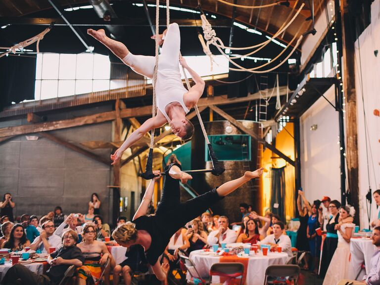 Acrobatic performance at wedding reception