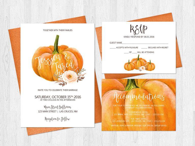 Pumpkin fall wedding invitation
