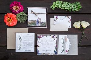 Bohemian Floral Invitations with Photo Save-the-Date