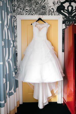 A Mikaella Bridal Silk Organza Ball Gown with a Lace Bodice