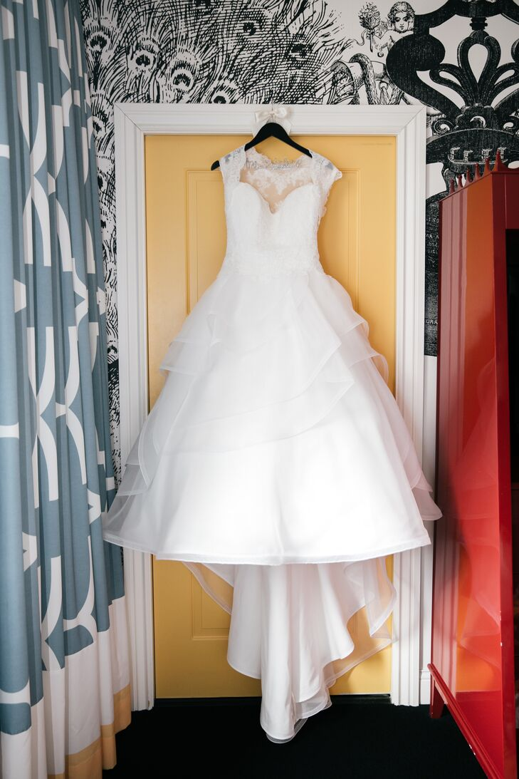 A Mikaella Bridal Silk Organza Ball Gown with a Lace Bodice