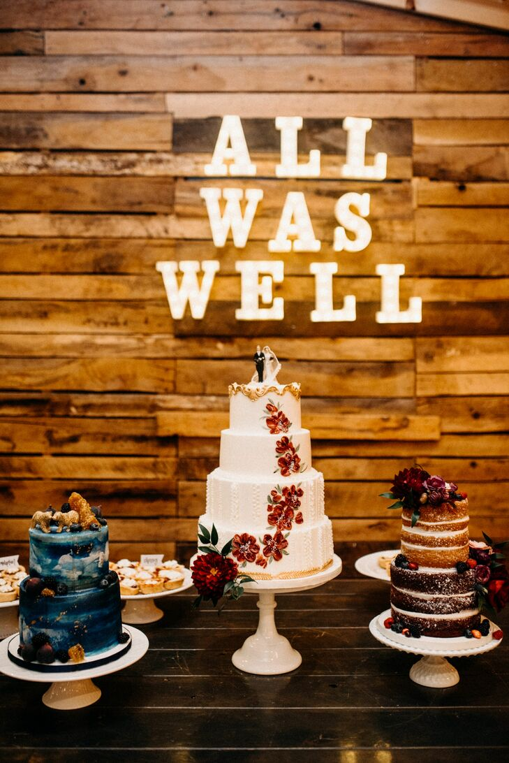 Rustic Cake Table with Three Wedding Cakes