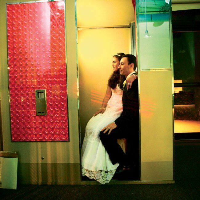 An old-fashioned photo booth was the hit of the party. Guests were invited to take home the black-and-white photos as favors.
