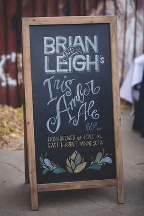 Chalkboard Sign Listing Couple's Home-Brewed Beer