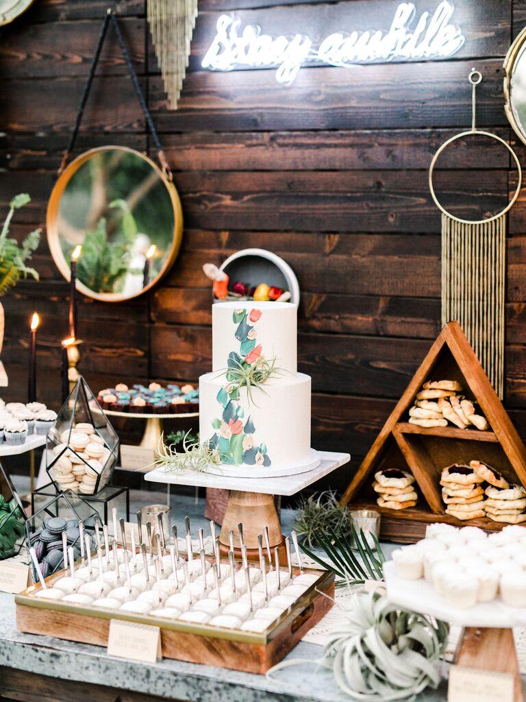 backyard wedding ideas geometric boho dessert table