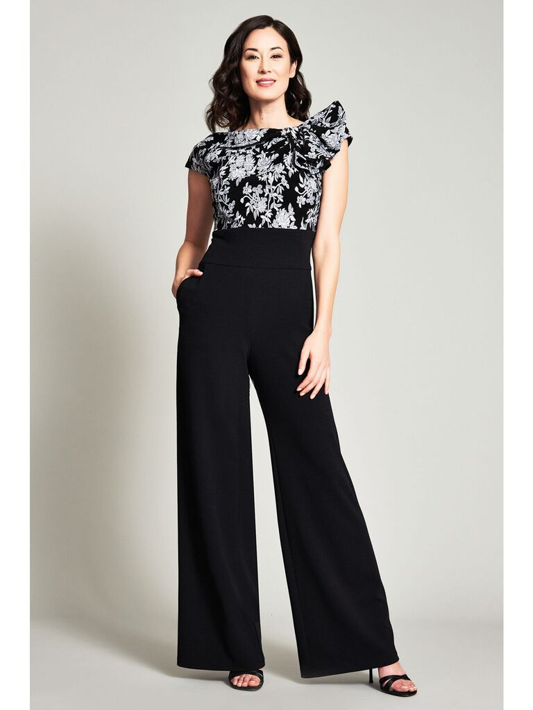 Jacquard jumpsuit with one-shoulder ruffle and wide pant legs
