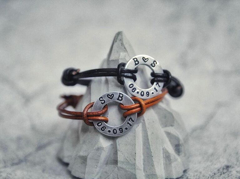 coordinating leather bracelets with initials and anniversary date