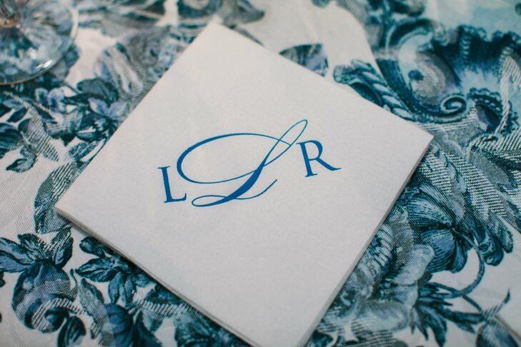 The couple personalized every detail including cocktail napkins printed with a formal navy monogram.