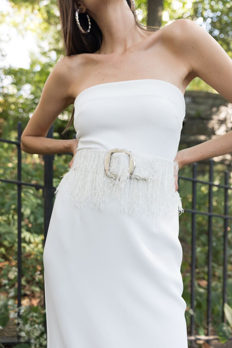 LEIN strapless white dress with fringe midsection and belt
