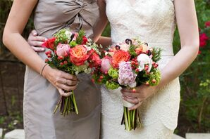 Green and Coral Wedding Bouquets