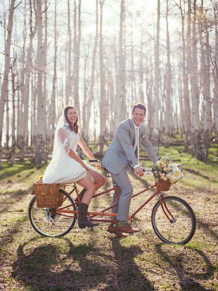 Classic Couple on Tandem Bicycle