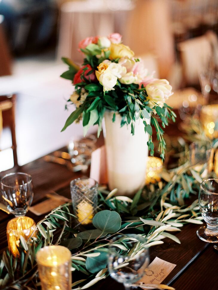 Cascading Rose Centerpieces with Olive Leaf Garland