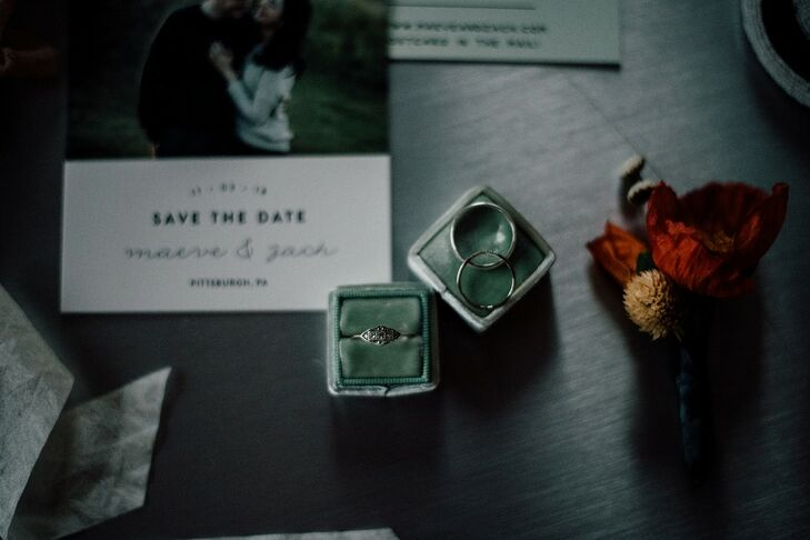 Art Deco Engagement Ring and Modern Wedding Bands