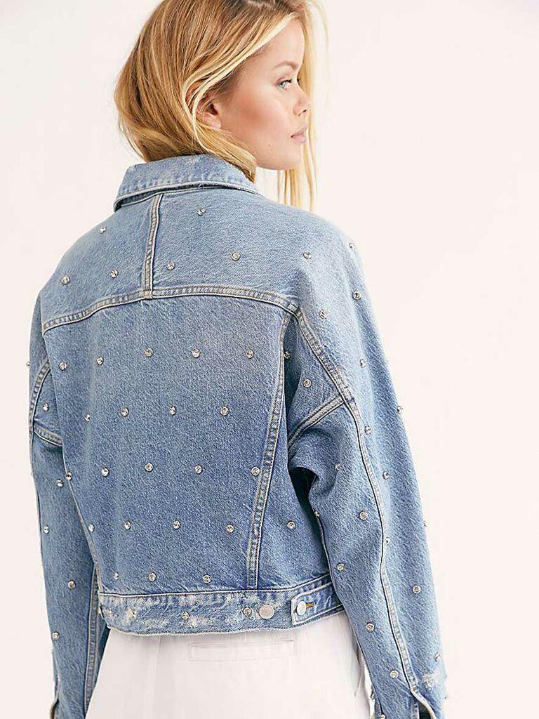 Bride jean jacket with crystals