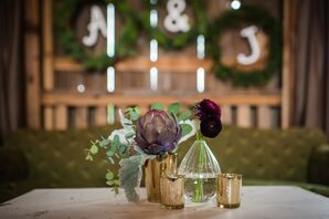 Burgundy Artichoke and Ranunculus Centerpieces