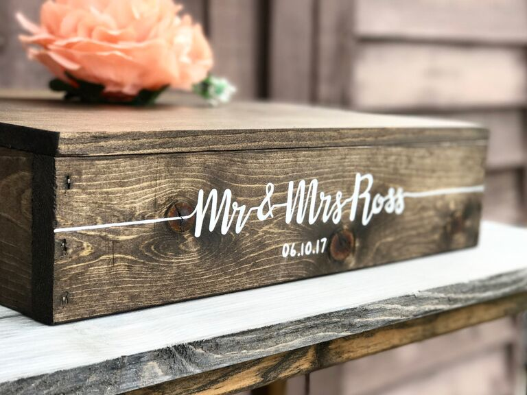 Rustic personalized wooden wedding cake stand