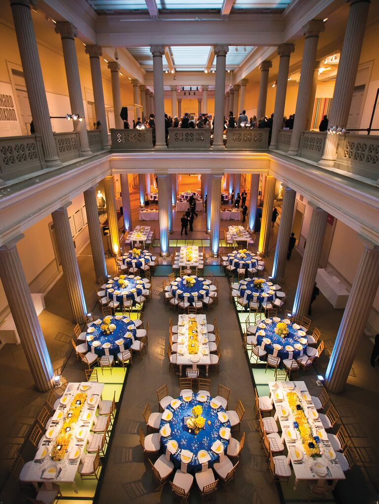 Blue and yellow reception decor