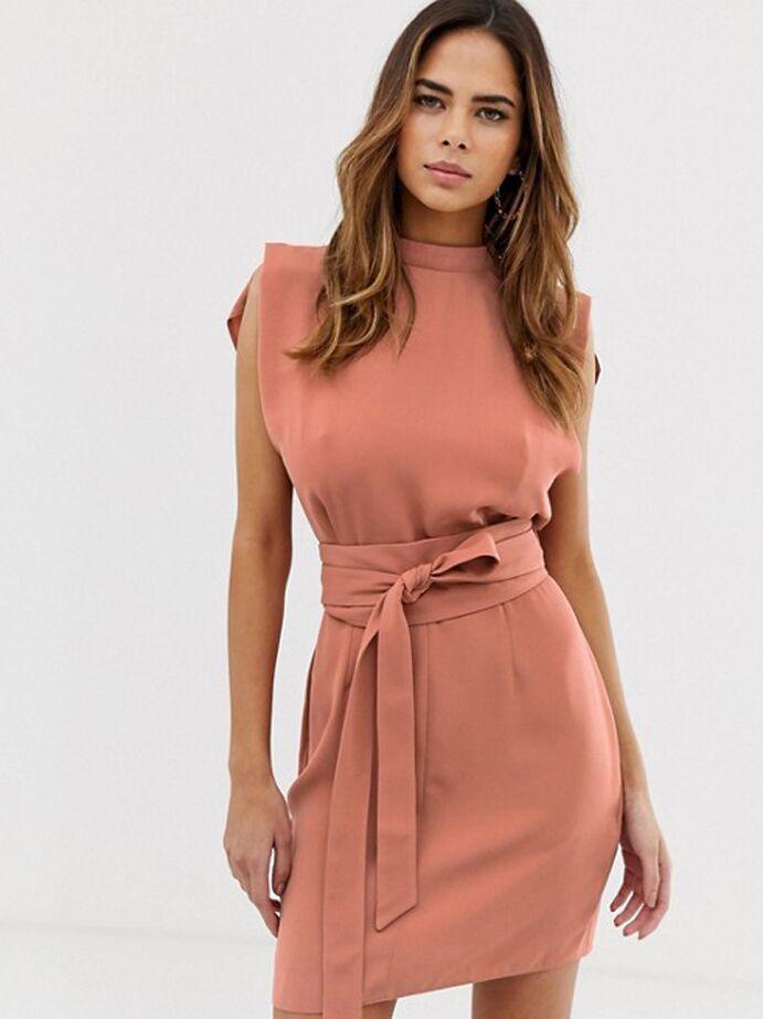 Terra cotta mini dress with wrap waist