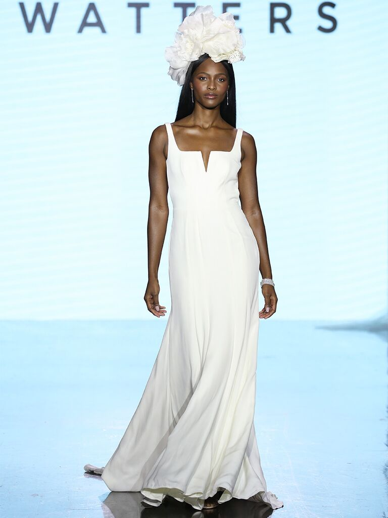 Watters wedding dress thin-strap trumpet