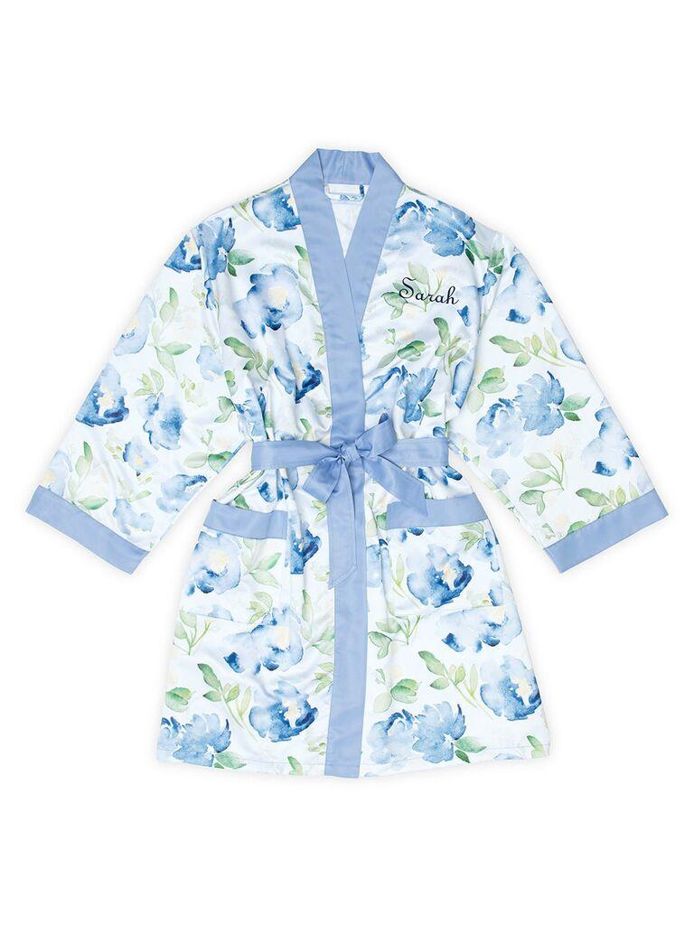 Blue floral bridal robe