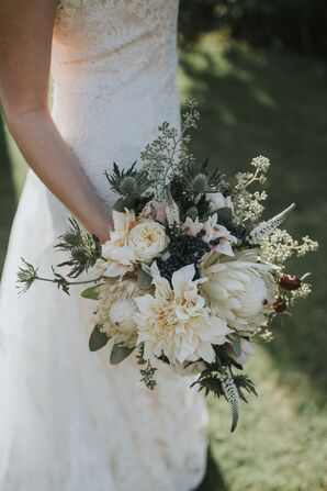 Cream Dahlia, King Protea and Thistle Bouquet