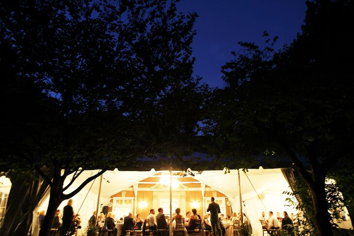 The tented reception was held on the lawn at Woodend Sanctuary. The event was catered by Spilled Milk Catering with music by DJ Brad McCormick.