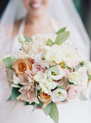 Soft White, Blush and Orange Bouquet