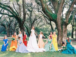 Bridesmaids in Colorful Mismatched Formal Gowns