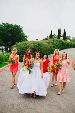 Custom Wedding Gown and Bridesmaids in Shades of Pink