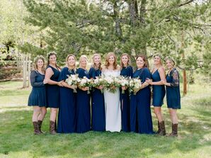 Bridesmaids Wearing Navy Dresses and Cowboy Boots
