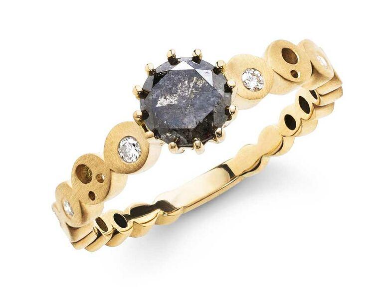 Coin constellation black diamond engagement ring