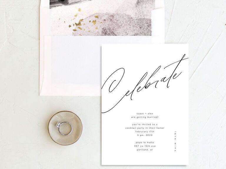 Elegant minimalist engagement party invitation