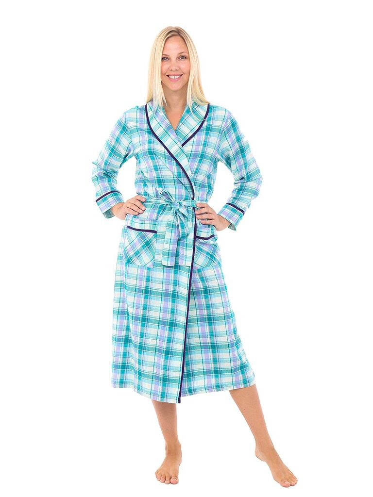 Blue plaid bridesmaid robe