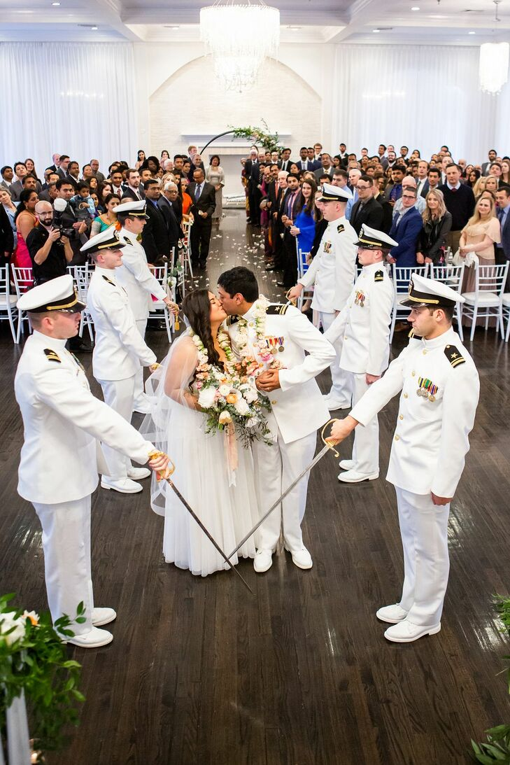 Saber Arch at Military Wedding at Belle Mer in Newport, Rhode Island