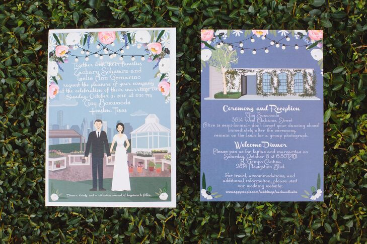 Whimsical Wedding Invitations with Custom Illustrations