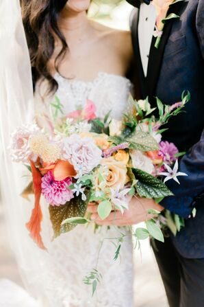 Colorful Bouquet with Roses and Dahlias