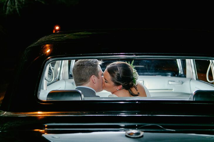 """I think the part of the night that both of us were excited about was our getaway car,"" Hailey says. ""The groom and I both have a love of vintage cars and I thought it would be the perfect surprise to book a vintage car and have it show up on our wedding, but I got so excited about the idea that I told him all about it months before the wedding."" They rode away in a 1961 Cadillac limousine—one-of-a-kind."