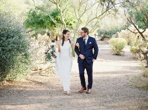 Modern Couple Wearing High-Neck Sheath Wedding Dress and Navy Suit