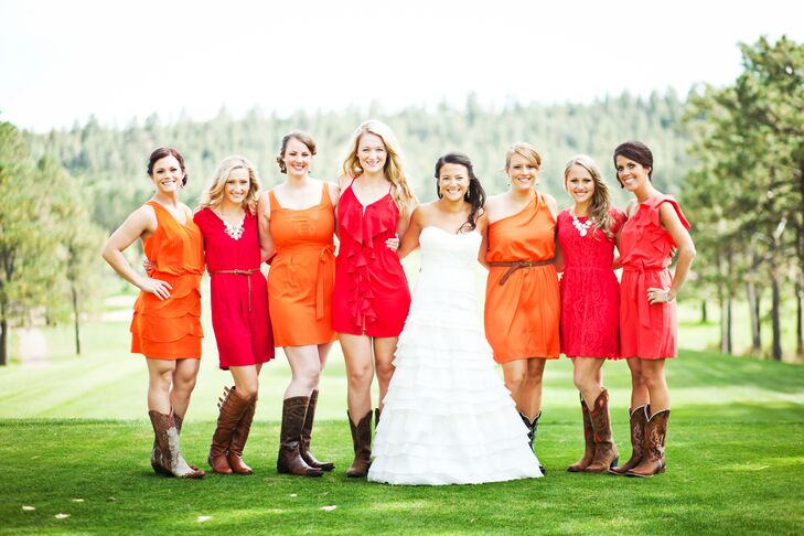 Red and Yellow Bridesmaid Dresses With Cowboy Boots