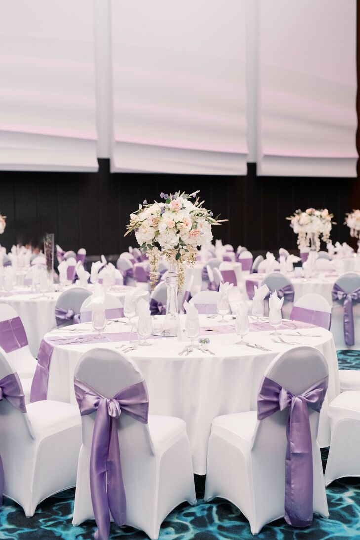 White-and-Purple Reception Decor for Missouri Wedding