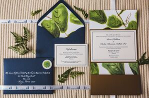 Wedding Invitation with Blue Envelope and Watercolor Fig Leaf Illustrations