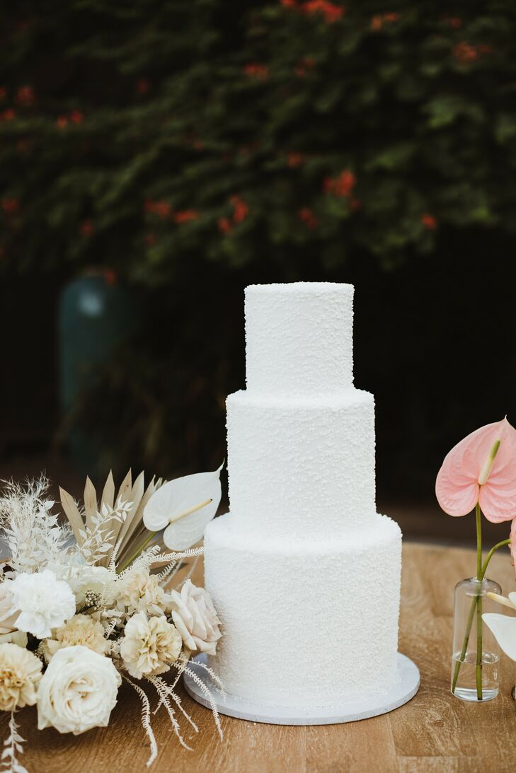 Modern White Cake for Palm Springs, California, Wedding