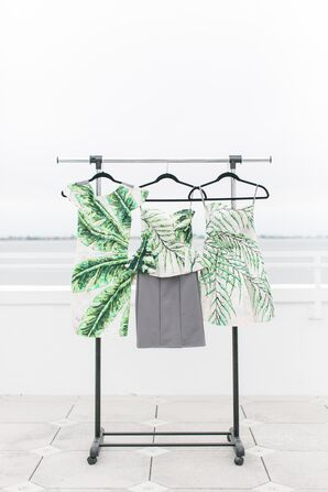 Bridesmaid Dresses with Palm and Banana Leaf Print