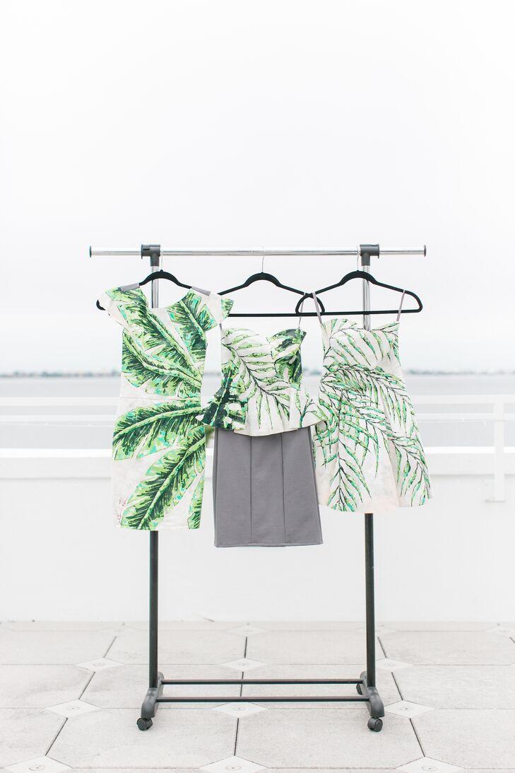 Bridesmaid Dresses with Palm and Banana Leaf Print