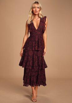 Lulus Molinetto Burgundy Lace Ruffled Tiered Sleeveless Maxi Dress V-Neck Bridesmaid Dress