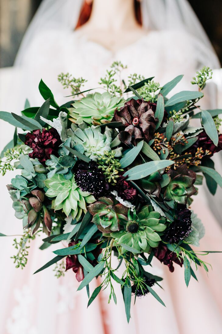 Modern Bouquet of Succulents,  Dusty Miller and Eucalyptus