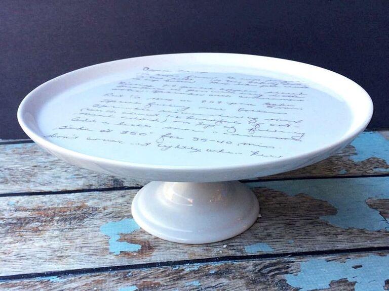 Custom handwriting wedding cake stand