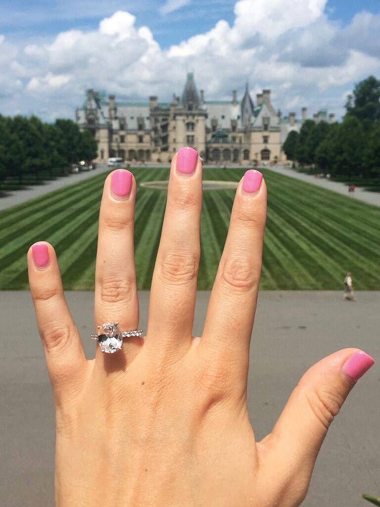 Engagement ring selfie idea with a unique background